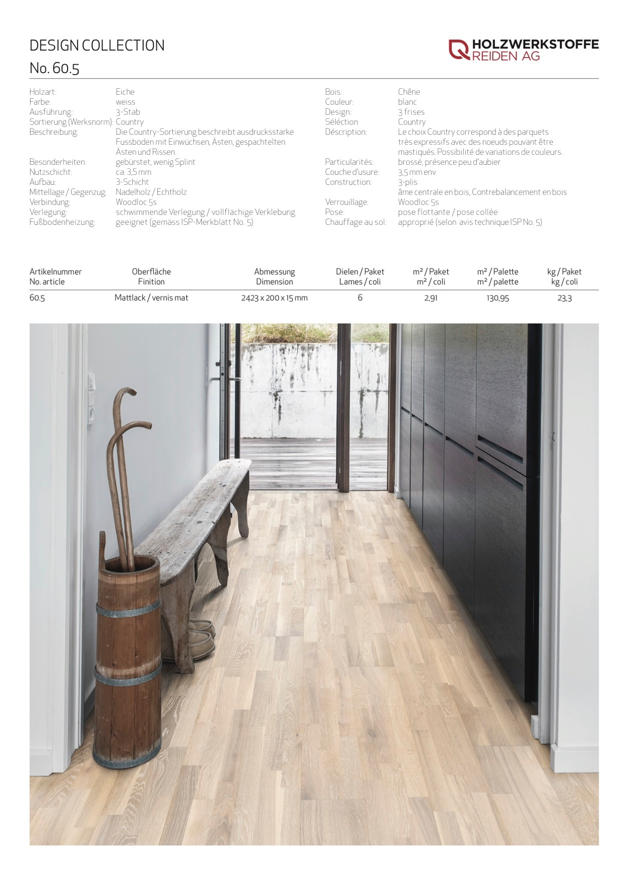 Design Eiche weiss 3-Stab country